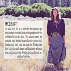 LuLaRoe Maxi skirt description. Join our Facebook group for creative ways to style outfits and opportunities to purchase styles like this one. https://www.facebook.com/groups/LuLaRoeLiliesShoppe