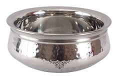 2 Pc Stainless Steel Hammered Round Handi Daal Curry Serveware Bowl 240 Gram