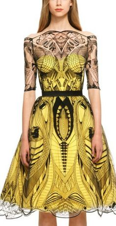 Yellow & Black Alexander McQueen. Reminiscent or geometric tattoo art. Could not love more!!