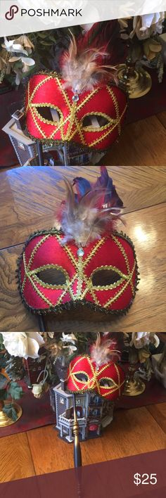 Mardi Gras Mask Red & Gold Pretty Mardi Gras mask with handle. Red and gold embellished with feathers. Super cute! Other