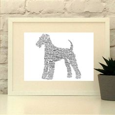 Airedale Terrier Dog Personalised Custom Print      This item is a truly personal gift for the dog lover in your life.  Please provide a list of 10-30 words and short phrases and your colour preferences and I will create you a bespoke piece for your Airedale Terrier fan.     www.pepperdoodles.co.uk