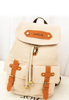[grzxy62000211]Casual Fashion Logo Buckles Travel Bag Canvas Backpack