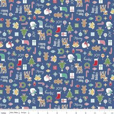The Fabric Fairy Cozy Christmas Main Navy Cotton Lycra Knit Fabric by Riley Blake