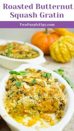This easy Butternut Squash Gratin features tender, basil pesto flavored roasted butternut squash with a basil crunch almond topping. The perfect Thanksgiving side dish, ready in just 20 mins.