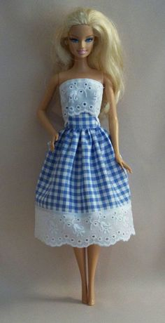 Handmade Barbie Doll Clothes-Blue Gingham with Eyelet Barbie Dress – Toys Sewing Barbie Clothes, Barbie Sewing Patterns, Doll Dress Patterns, Girl Doll Clothes, Clothing Patterns, Skirt Patterns, Doily Patterns, Dress Sewing, Sewing Pants