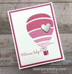 Create a simple baby girl card using Stampin Up & Away Thinlits Dies hot air balloon idea - Mary Fish StampinUp
