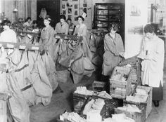 Women sorting newly arrived mail for despatch to the various censorship departments. Private correspondence was also censored. Military censors examined 300,000 private telegrams in 1916 alone.