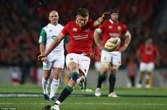 Owen Farrell kicks a penalty for the Lions during the first period as the visiting team tr. British And Irish Lions, First Period, Rugby, New Zealand, Kicks, Running, Keep Running, Why I Run, Football