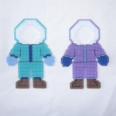 Snow Play Parkas Plastic Canvas Cross Stitch Pattern by Hunibears