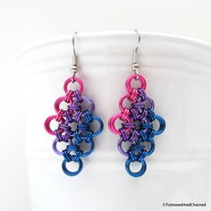 Bi pride jewelry chainmail earrings pink by TattooedAndChained