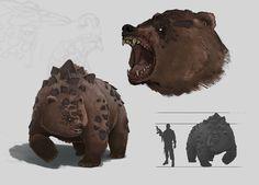 ArtStation - Bear, Maxim Harahulin Forest Creatures, Alien Creatures, Wild Creatures, Fantasy Creatures, Fantasy World, Fantasy Art, Creature Concept, Extinct, Creature Design