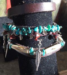 Handmade Native American Inspired Wrap Boho Genuine Turquoise Stone Poppy Jasper Stone Leather Bovine Bone feather charm Bracelet jewelry by WishboneJewelryCraft on Etsy