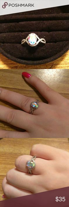 Silver mystic topaz ring Real 925 silver Size 7.5 No chips or cracks in the stone Jewelry Rings