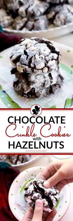 These Chocolate Crinkle Cookies with Hazelnuts are perfect for parties, potlucks, Christmas Bake Sales, and cookie exchanges! The chocolate and hazelnut flavor combination can't be beat! Grab the kids or grandkids, because they will LOVE mixing and rolling these Christmas cookies with you!