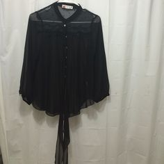 Sheer black blouse Sheer black button and tie long sleeve blouse Excuse me miss  Tops Button Down Shirts