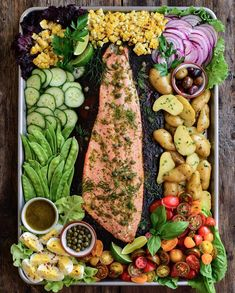 Cedar plank wild sockeye salmon, is the centre of this Niçoise inspired salad. Perfect for dining alfresco on this beautiful summer evening! Hope you all had a wonderful day! 🥂 Sockeye Salmon, Cedar Planks, Nicoise, Summer Evening, Dinner Parties, Sheet Pan, Cobb Salad, Nook, Seafood