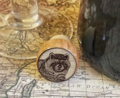Raccoon Wine Stopper, Handmade Wildlife Wood Cork, Great Outdoors Bottle Stopper, Woodland Design on Wood Top Cork Stopper, Gift For Him by SRVintageandDesigns on Etsy