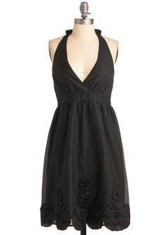 Spin Time Together Dress - Mid-length, Black, Solid, Party, A-line, Halter