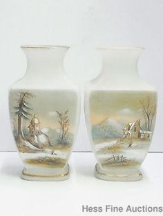 Antique-10-Inch-Pair-Victorian-Scenic-Enamel-Art-Glass-Panel-Frosted-Satin-Vases