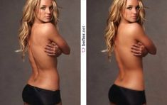 <b>Britney Spears</b><br> Singer Britney Spears seems to be a favourite of the Photoshop wizards. In these before and after shots, Spears looks like she& been tightened and toned and had her tummy totally trimmed. Johnny Depp, Before And After Photoshop, Celebrities Before And After, Slim Thighs, Look Thinner, No Photoshop, Photoshop Tutorial, Without Makeup, Perfect Body