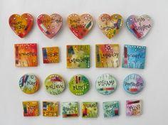Mixed media art hearts