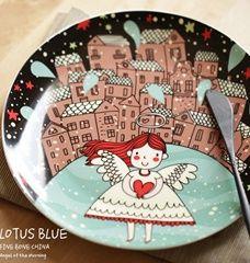 Dinner Plates Lovely Angel Pattern 8inch Western Style Dinnerware Elegant Fine Bone China Tableware