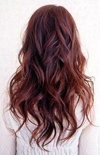 Beauty Waves Haircut with Back Side View and Red Brown Hair Color for Women