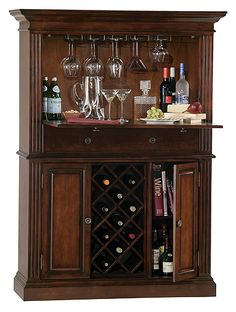 Howard Miller Seneca Falls Wine Storage Bar - Wine Furniture at Hayneedle Wine Bar Cabinet, Wine Cabinets, Liquor Cabinet Furniture, Wine Furniture, Home Bar Designs, My Home Design, House Design, Home Wine Bar, Mini Bars