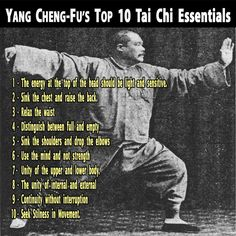 Yang Cheng Fu's Top 10 Tai Chi Essentials.