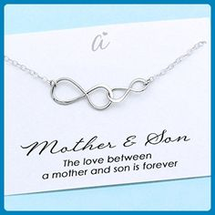 Mother and Son Necklace • Personalized Gift for Boy Mom • Sterling Silver Double Infinity • Family Charm • Meaningful Mommy Jewelry • Infinite Love - Wedding nacklaces (*Amazon Partner-Link)