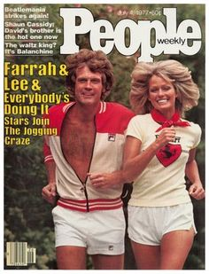 """Lee Majors and Farrah Fawcett-Majors jogging on the cover of People Magazine in I loved """"Heath. Lee Majors, Cinema Tv, Bionic Woman, Look Plus Size, Run Today, Steve Austin, Running Inspiration, Style Inspiration, Farrah Fawcett"""