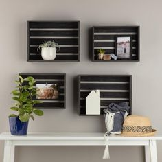 Add a touch of country rustic flare to your space and showcase your most adorned treasures or organize clutter with this Set of Four Rustic Wood Crate Wall Storage. This decorative set of four wood crate wall shelves features open slate wood construc Decor, Crates On Wall, Floating Wall Shelves, Wall Storage, Home Decor, Baskets On Wall, Wood Crates, Crate Decor, Wall Decor Crafts