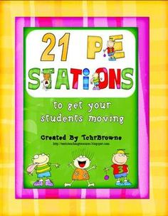 A fun and exciting way to bring physical education to your students, 21 colorful station cards and instructions to be used in the gym. Physical Education Activities, Elementary Physical Education, Elementary Pe, Pe Activities, Health And Physical Education, Classroom Activities, Classroom Ideas, Pe Lesson Plans, Pe Lessons