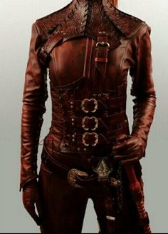 """Mord'Sith Full Set Leather Armor with Floral & Vine """"Tooled"""" designed """"CUSTOM"""""""