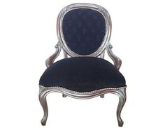 Antique Victorian Rococo Accent Chair Tuft Black Velvet Fabric Painted Silver Distressed by Throne Upholstery French  Dining Chair