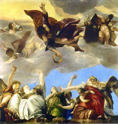 Paolo Veronese ~ De heilige Marcus bekroond de Deugden ~ ca. 1553-1554 ~ Olieverf op doek ~ 330 x 317 cm. ~ Musée du Louvre, Parijs