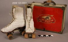 White Leather Roller Skates in Skate Case, 1930, via Missouri History Museum.
