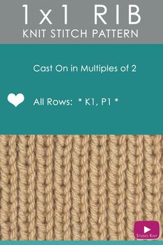 How to Knit the 1X1 RIB Stitch Easy Free Knitting Pattern with Studio Knit #StudioKnit