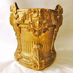 Beautiful and Rare 19th Century Gilt Bronze Wine Cooler Empire Masks