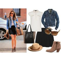"""Get The Look: Miranda Kerr's Simple Black Skirt Outfit"" by reneeward400 on Polyvore"