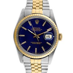 Rolex Men's Datejust Watch in Blue, Silver and Gold - Beyond the Rack