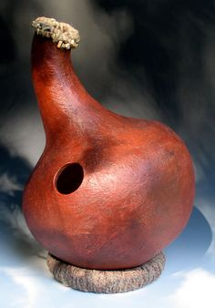 Udu drum with jute and beads