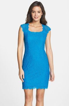 32cd66b52ea  148 adrianna papell cap sleeve lace sheath dress in cerulean blue sz 2 nwt