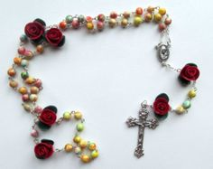 The Artists Rosary, pastel beads, colorful rosary, clay, handmade
