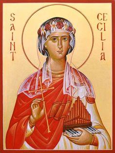 Cecilia - November 22 - by Brian Whirledge Religious Images, Religious Icons, Religious Art, Santa Cecilia, Ste Cecile, St Cecelia, Roman Church, The Transfiguration, All Saints Day