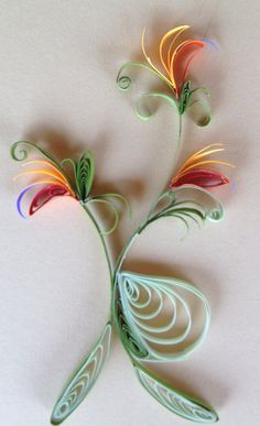 Quilled tropical Bird of Paradise Flowers.