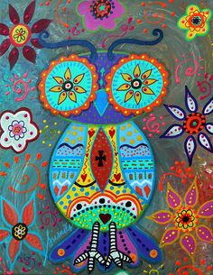 wHIMSICAL wISE OWL pAINTING BY PRISARTS blooms , flower , florals , whimsical , pristine , cartera , turkus , folk , painting , cool , mexican , birthday , baby , nursery