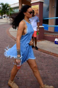 Rihanna wearing Puma x Rihanna Creepers, Marques Almeida Resort 2016 Fringe Top