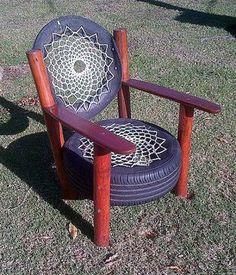 of Chair. Home Talk has a cool tire chair with a cool rope lattice backing. of (Visited times, 97 visits today) Tire Furniture, Recycled Furniture, Painted Furniture, Furniture Design, Tire Craft, Reuse Old Tires, Reuse Recycle, Recycling, Diy Pallet Sofa