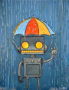 Framed In the rain feeling fine robot print by mattspangler Robot Illustration, Illustrations, Robot Nursery, Robot Painting, Robots Drawing, Robot Cartoon, Retro Robot, Feeling Fine, Found Object Art